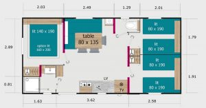 Plan de nos mobil-homes 6 pers